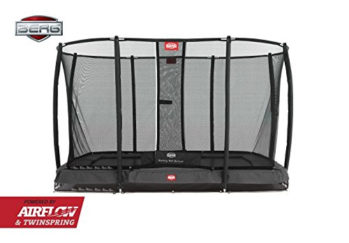 Berg Cama elástica Inground EASYFIT Color Gris con Red de Seguridad Deluxe