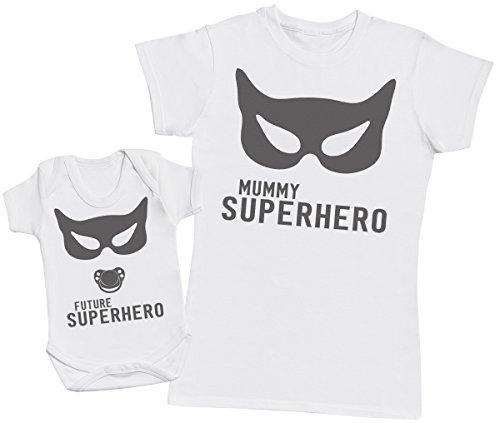 SuperHero Mum - regalo para madres y bebés en un body para bebés y una camiseta de mujer a juego - Blanco - Medium & 6-12 meses