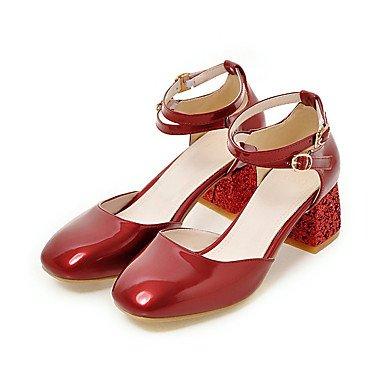 LvYuan Da donna-Sandali-Ufficio e lavoro Formale Casual-Comoda-Quadrato-Finta pelle-Nero Rosa Rosso Beige Pink