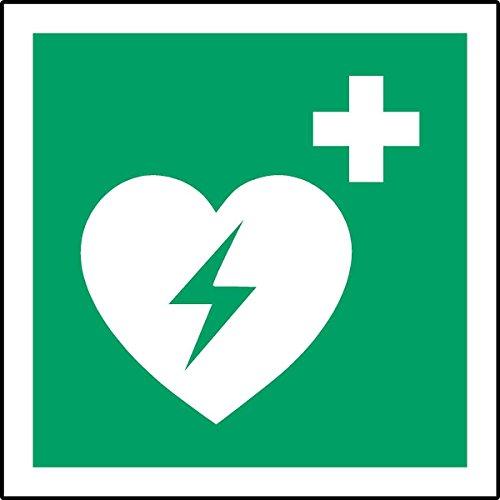 ISO Hinweisschild International Automatiesierter Externer Defibrillator Herz Symbol-Reverse Fenster Aufkleber 150mm x 150mm - Herz-defibrillator