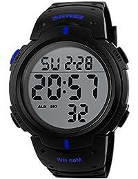 Deporte reloj multifuncional militar impermeable números grandes hombre Led pantalla Digital Business Casual reloj
