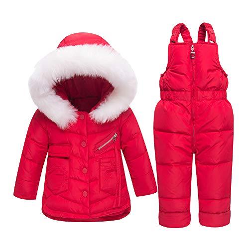LSHEL Baby Mädchen Junge Winter Schneeanzug Daunenjacke Stepphose Winterjacke Mit Kapuze Down Jacket 2tlg Bekleidungsset Verdickte Winterjacke rot 92/98