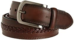 Tommy Hilfiger Mens Double Stitched Leather Belt, Brown, 36