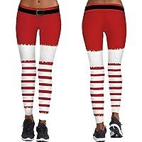 THHTUI Cosplay Medias De Yoga Pantalones Deportivos Femeninos Delgados Pantalones De Papá Noel Rayas Rojas Verdes Leggings para Correr