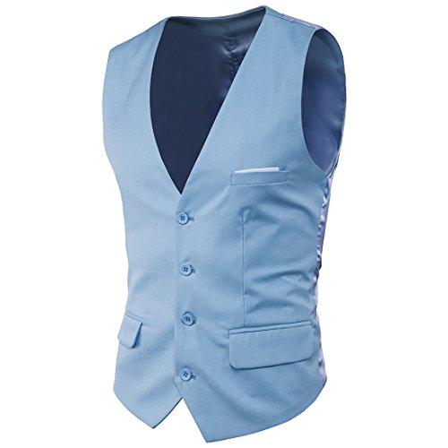 Mxssi Anzug Weste Formale Patchwork Herren Kleid Anzüge Weste Plus Size Fashion Slim Fit Hochzeit Männer Weste Hell Blau 4XL
