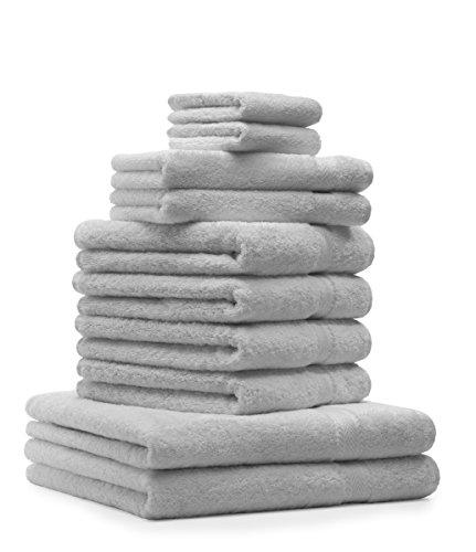 Betz 10-TLG. Handtuch-Set Premium 100% Baumwolle 2 Duschtücher 4 Handtücher 2 Gästetücher 2 Waschhandschuhe Farbe Silber