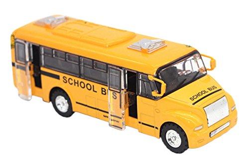 Happy Cherry - Autobús Escolar Vehículo Miniatura de Aleación Juguete de Coche Infantil para Niños 1:32 School Bus Emulación Regalo para niños - Amarillo - 13.5 * 4 * 4.5 cm