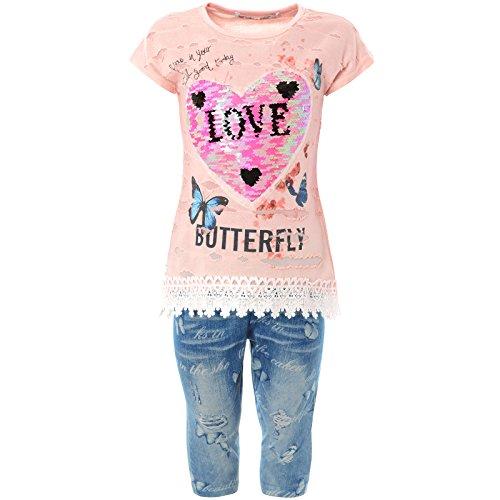 Mädchen Kurzarm Shirt Capri Hose Outfit (2 TLG Set) 21775 Rosa 104