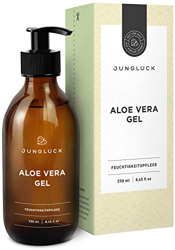 Aloe Vera Gel aus 95{ce600d8626c1c598956511c2af53c892cfc9cb8041fc42d88e2b750b905079d9} bio Aloe Vera - vegan & in Braunglas - Feuchtigkeitspflege für gesunde & schöne Haut - Junglück natürliche & nachhaltige Kosmetik made in Germany - 250 ml