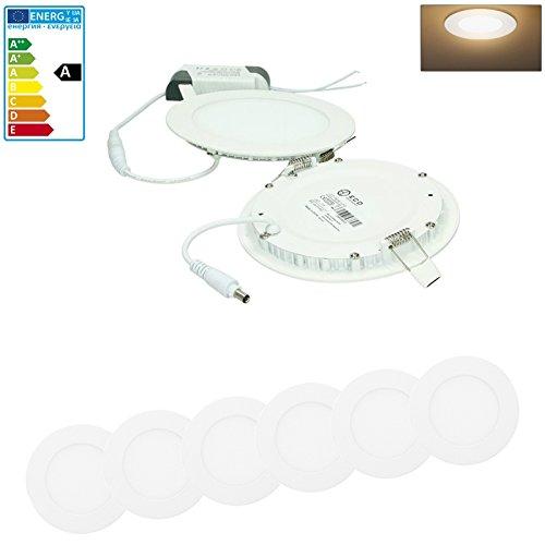 ECD Germany 6-er Pack LED Einbaustrahler 9W - Panel Deckenstrahler ultraslim - 220-240V - SMD 2835 - Ø14.2 cm - warmweiß 3000K - runder Einbauleuchten Spot für Flur, Bad oder Küche -