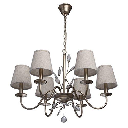 Lampadario da soffitto grande di metallo colore di oro e argento paralumi di stoffa creme gocce cristalli trasparente stile moderno in soggiorno salotto o camera da letto 6 - bracci 6*60w e14 - escl