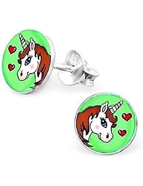 GH1a Einhorn Ohrstecker 925 Echt Silber Ohrringe Mädchen Geschenkidee Pferd