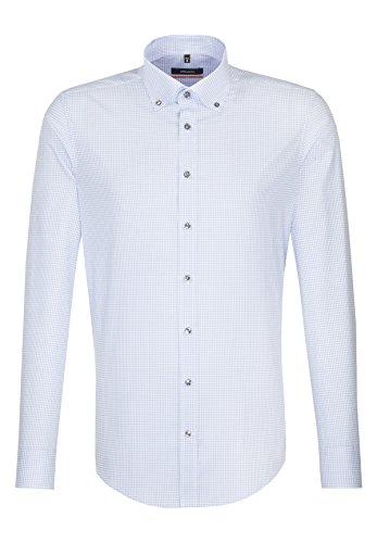 Seidensticker Slim Langarm MIT Buttondown Kragen, Camicia Business Uomo Blu (Blau 15)