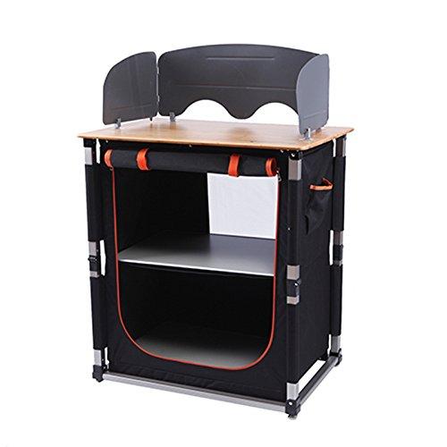 Apertura rápida KingCamp bambú cuadro aluminio ligero armazón portátil Heavty deber de cocina mesa de Camping con organizador de almacenamiento de información width=