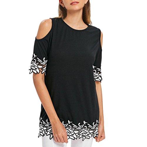 Kobay T-Shirt Women Summer Short Sleeve Lace Applique Cold Shoulder O-Neck Tops