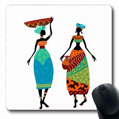 Luancrop Mousepad African Orange Malerei Kostüm Gruppe Kleid Tribal Abstract Adult Design Schwarz Mauspad Rutschfester Gummi für Notebook Laptop PC (Lustig Einfache Gruppe Kostüm)