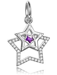 NinaQueen Estrellas Dobles artificiales Abalorio de mujer de plata