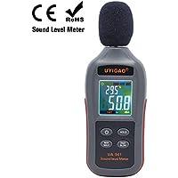 Medidor de nivel de sonido digital, UYIGAO Mini prueba de medición de sonido Decibelio de ruido de audio, 35dBA ~ 135dBA Modo máximo / mínimo / espera con pantalla de visualización LCD automática