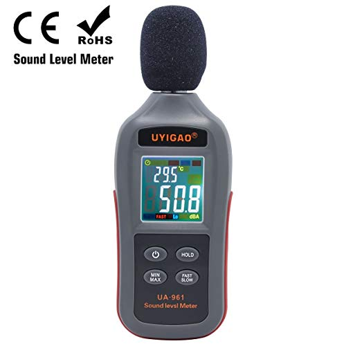 Digital Sound Level Meter,UYIGAO Portable Noise Meter 35dB~135dB Schallpegelmesser Measurement Audio Noise Dezibel Max/Min/Hold Mode and Auto LCD Screen Display