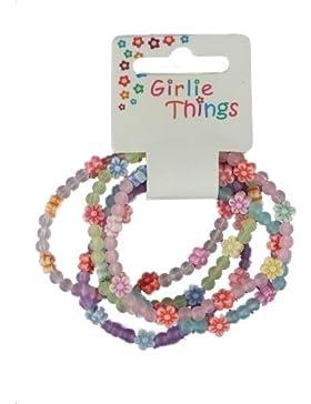 Mädchen Frosted Blumen Armbänder - Packung mit 5 stück