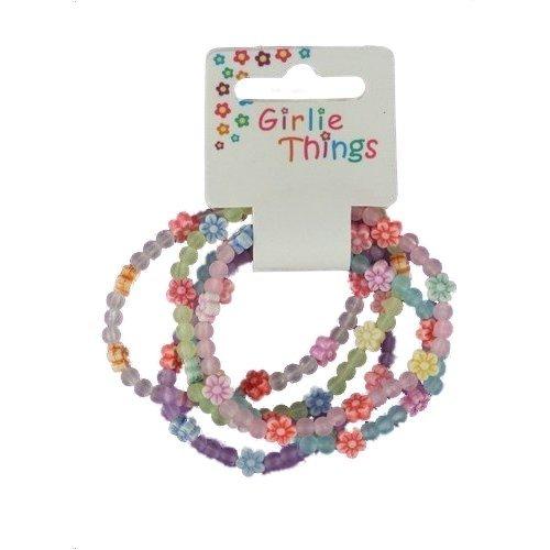 Mädchen Frosted Blumen Armbänder - Packung mit 5 stück - Mehrfarbig, Einheitsgröße