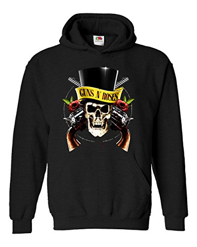 "Felpa Unisex ""Guns N Roses - Skull"" - Felpa con cappuccio rock band LaMAGLIERIA, L, Nero"