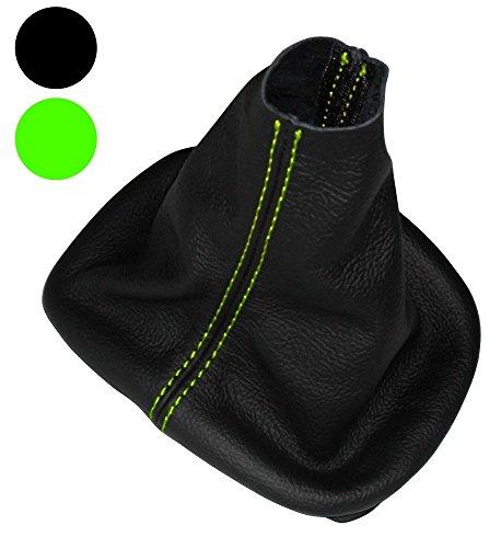 Aerzetix -Schaltsack Schalthebelmanschetten Schalthebelmanschette Schaltbetätigungs Schwarze Farbe 100% Leder grüne Nähte
