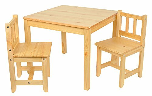 Kinder Sitzgruppe Holz Natur mit Kindertisch 60x60 cm und 2 Kinderstühle Hockergruppe Set Kindermöbel Kinderzimmer Hocker
