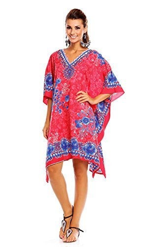 neu-damen-kimono-tribal-ethnisch-bedruckte-tunika-kaftan-uberdimensional-uberwurf-kleid-rosa-52-54
