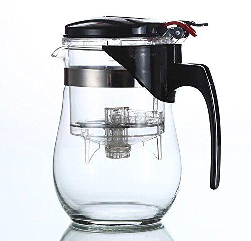 Miyare Teekanne aus Glas und Edelstahl mit Teesieb 1000 ml Glaskanne Teebereiter (500 ML)
