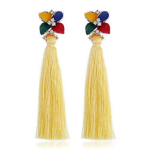 KFYU Emaille Blume DIY Seidenfaden Quaste Ohrringe Lange Frauen Kostüm Schmuck Drop Shipping Großhandel gelbe Quaste