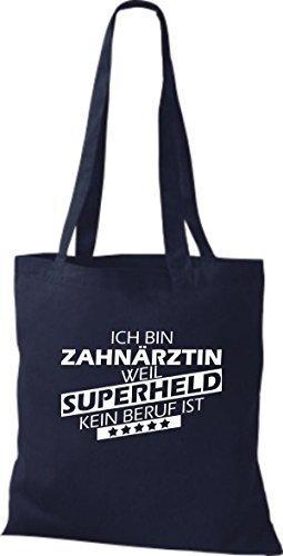 shirtstown Borsa di stoffa SONO zahnärztin, WEIL supereroe NESSUN lavoro è Blu marino
