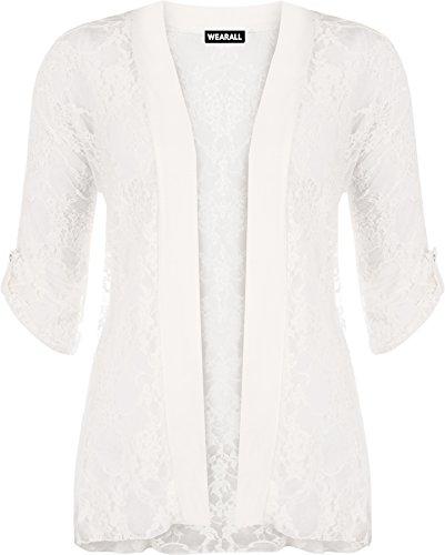 WearAll - Damen Übergröße Spitze Offen Cardigan Top - Crème - 44