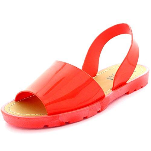 Damen Slingback Peep Toe Sliders Flip-Flops Festival Flatform Sandalen Koralle