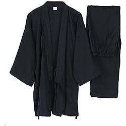 Fancy Pumpkin Trajes de Estilo japonés de los Hombres Traje de Pijama de algodón Plisado Puro de algodón Negro