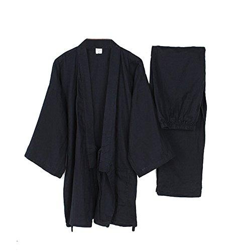 Männer japanischen Stil Roben lose reine Baumwolle Kimono Pyjamas Anzug-schwarz (Baumwoll-satin-robe)