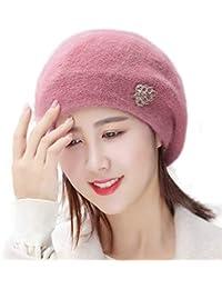 Anmain Basco Cappellino da Donna Berretto Vintage Tinta Unita Maglia  Cappellino Stile Francese Baschi di Lana 1c9178a94580