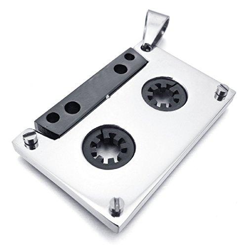 MENDINO Unisex Musica Nastro Argento Blcak collana con pendente in acciaio inox 1x sacchetto di velluto