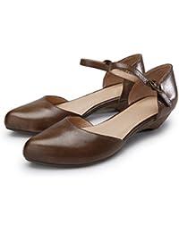 YNXZ-SHOE Womens Sandalen Flachen Mund Runde Kuhfell Casual Flache Schuhe Kleine Frische Temperament Gummisohle...
