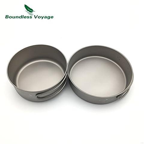 Outdoor Ultralight Titanium Pot Set Titanium Cooking Pot Camping Pan With Folding Handle(500ML+600ML)