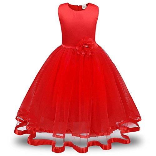 ❤️Kobay Blume Mädchen Prinzessin Brautjungfer Festzug Tutu Tüll-Kleid Party Hochzeit Kleid (Rot, 130/5 Jahr)
