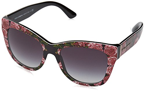 Dolce&gabbana 0dg4270 31278g, occhiali da sole donna, nero (print rose on black/gradient), 55