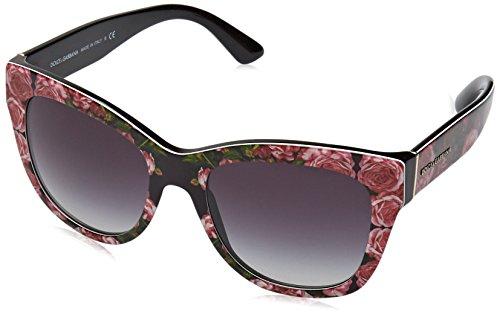 Dolce & Gabbana Damen 0DG4270 31278G 55 Sonnenbrille, Schwarz (Print Rose On Black/Gradient),