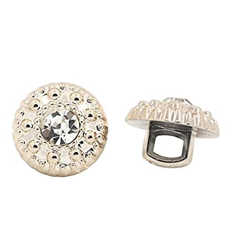 Housweety-50 Boutons Acrylique+Strass Rond Couleur Dore Clair 11mm Dia.B26009-design personnalise-charme