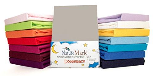 2er Sparpack Kinder Spannbettlaken Jersey 100% Baumwolle für Kinderbettmatratzen ÖKO Tex Geprüft in vielen Farben (Silber / Hellgrau)