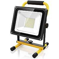 Led Baustrahler Akku Strahler - 30W Baulampe Akku mit 60 LED chips, 2200 Lumen Super hell, bis 8 Stunden Leuchtdauer, Akku wechselbar