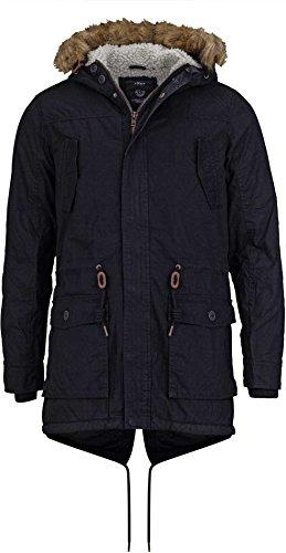 Solid Winterjacken Herren Parka - lange Winterjacke mit Kapuze und Fellkragen, Aktuelles Modell, Schwarz Größe XL