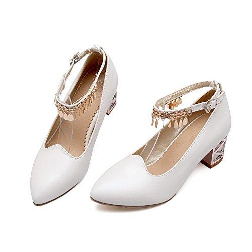 AllhqFashion Damen Eingelegt Weiches Material Mittler Absatz Schnalle Spitz Zehe Pumps Schuhe Weiß