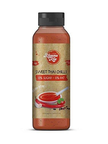 Leckere Sweet Thai Chilli Sauce ohne Kalorien für gesundes Kochen | Süße Low Carb Chillisauce ohne Geschmacksverstärker, ohne Zucker & fettfrei | Süß Sauer Chili-Soße scharf von Mamma Mia – 265ml (Diät-süße)