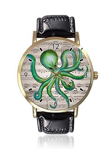 Ghost Damen Herren Armbanduhr Oktopus und Retro-Stil, Musiknote, modisch, Unisex, Leder, Casual Quarzuhr Ghost Leder